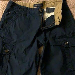Navy blue Tommy Hilfiger cargo shorts.